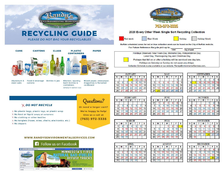 2020-Recycling-Calendar - City Of Buffalo Mn
