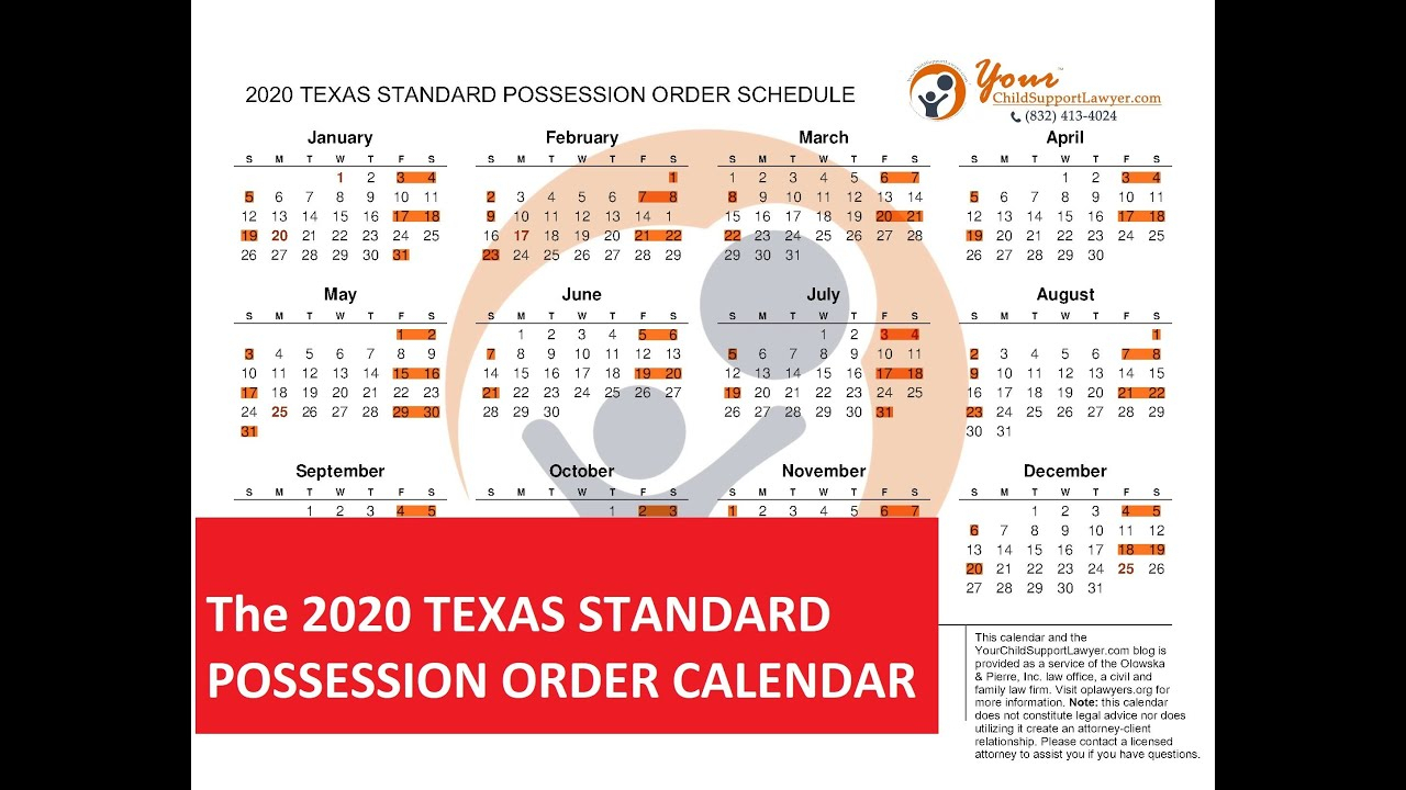2020 Texas Standard Possession Order Parents Calendar