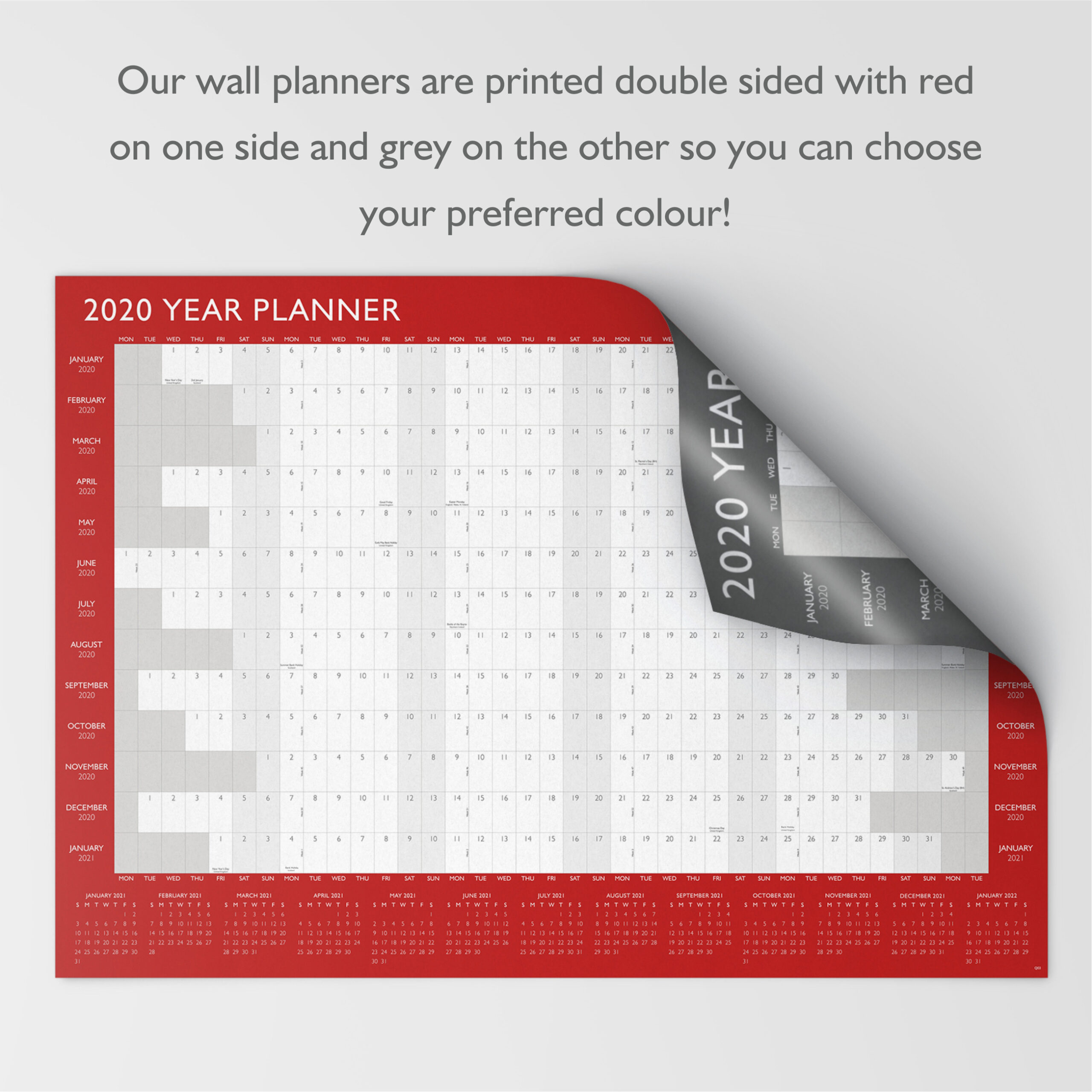 2020 Year Wall Planner ~ Yearly Annual Calendar Chart A2