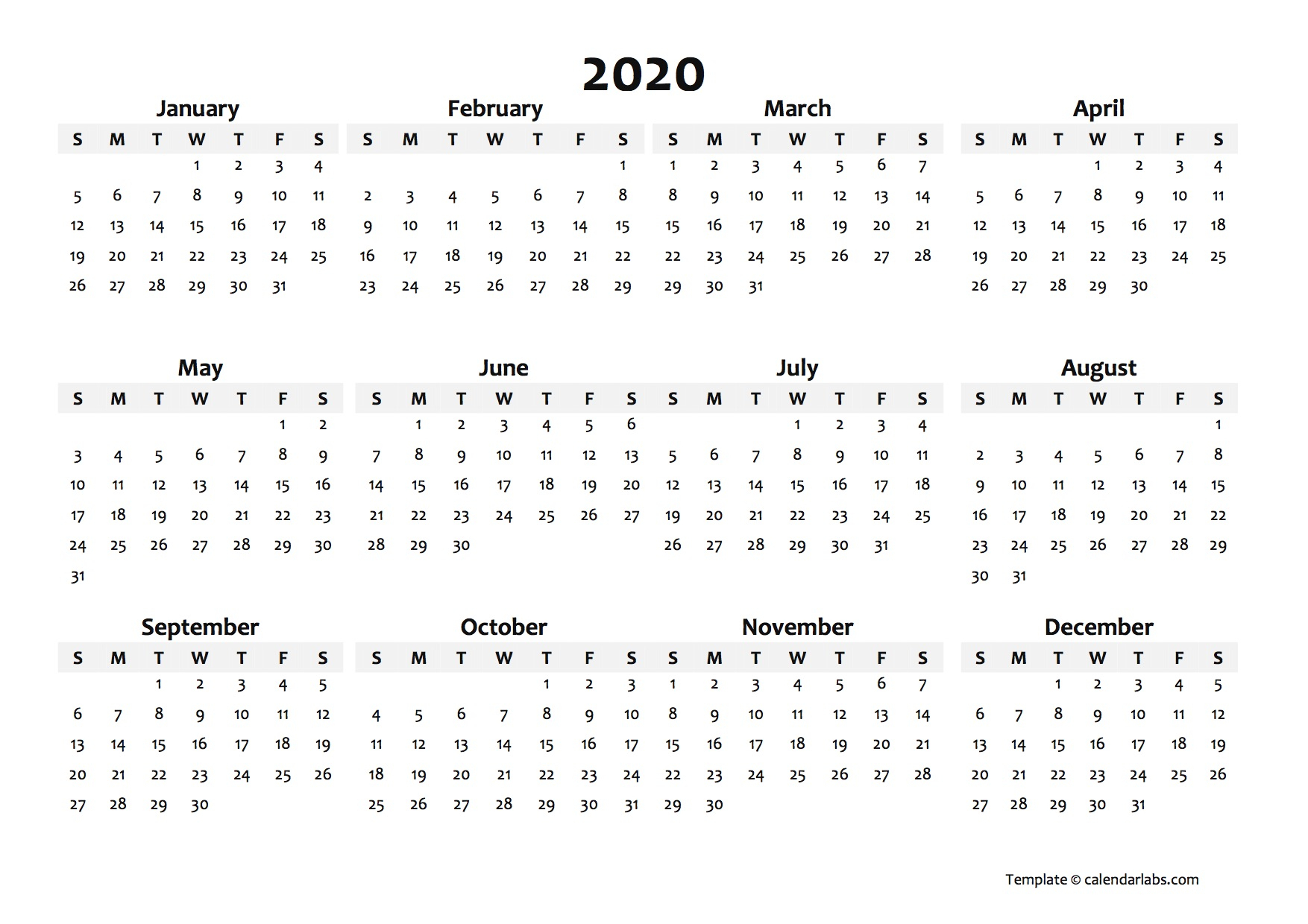 2020 Yearly Blank Calendar Template - Free Printable Templates