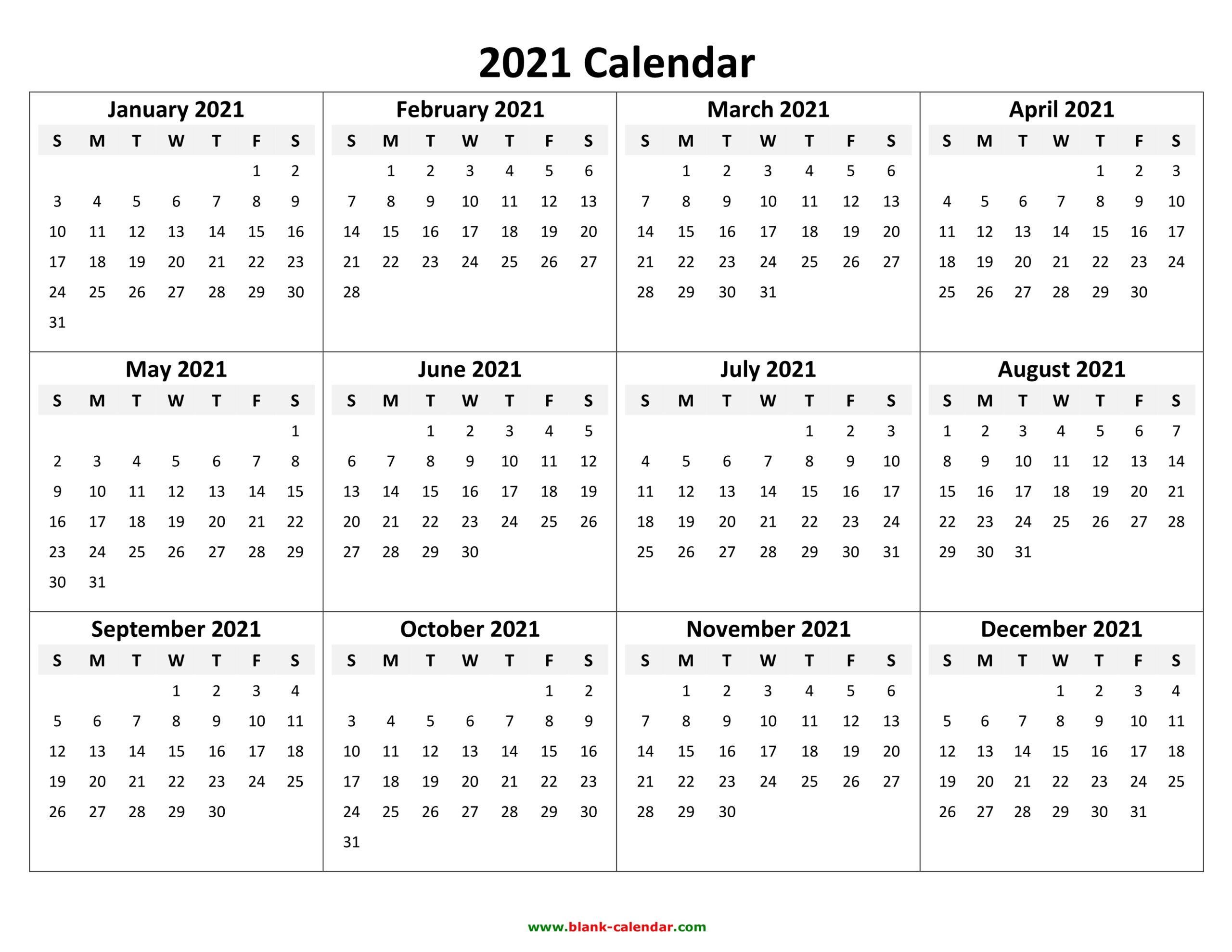 2021 Calendar Pdf 3 Year Calendar Full Page | Free