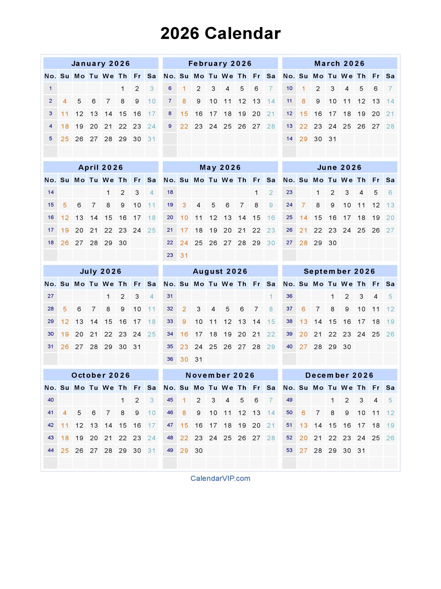 2026 Calendar - Blank Printable Calendar Template In Pdf