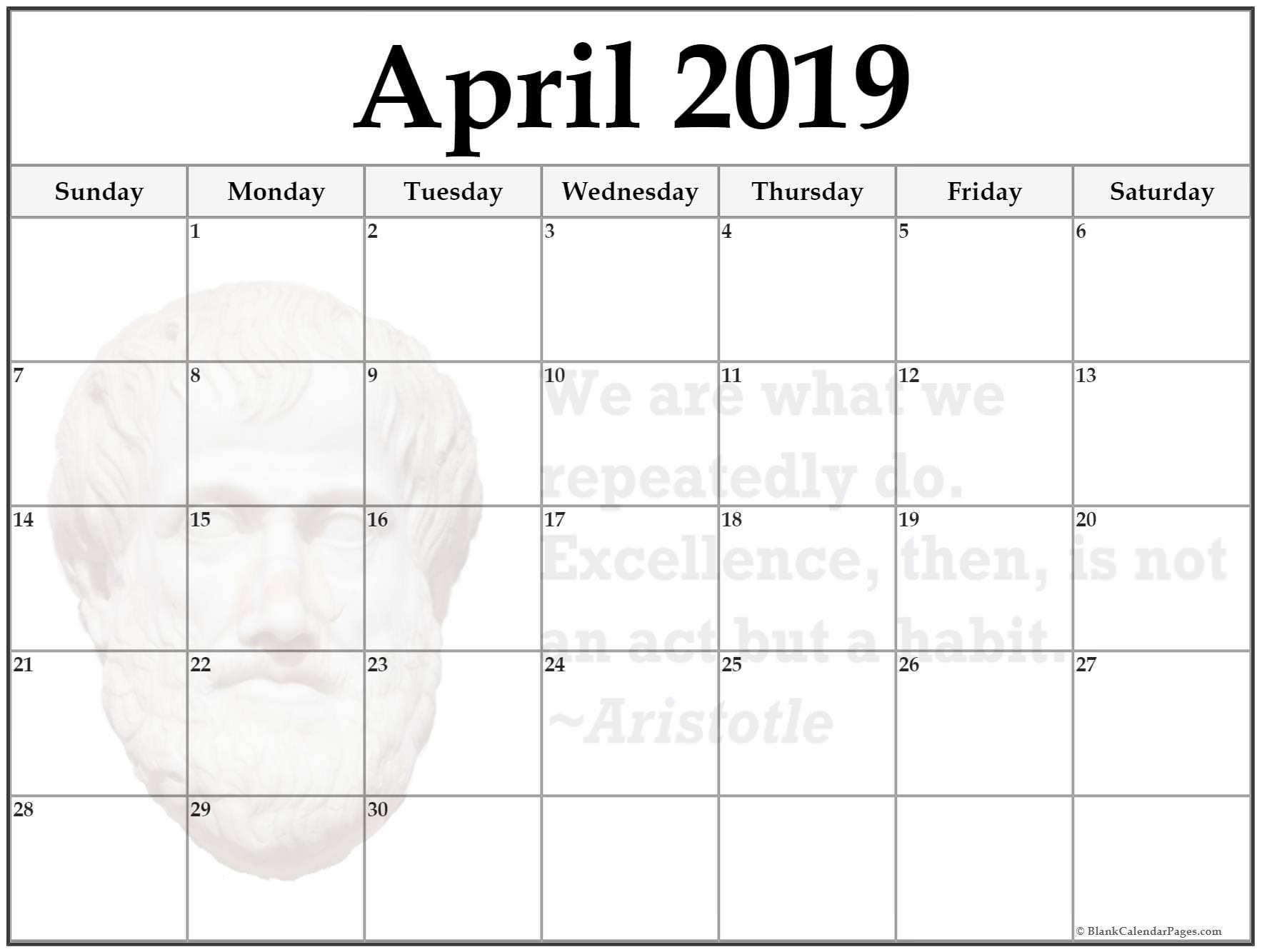 24+ April 2019 Printable Quote Calendars
