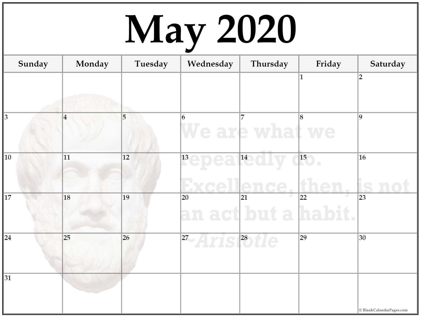 24+ May 2020 Quote Calendars
