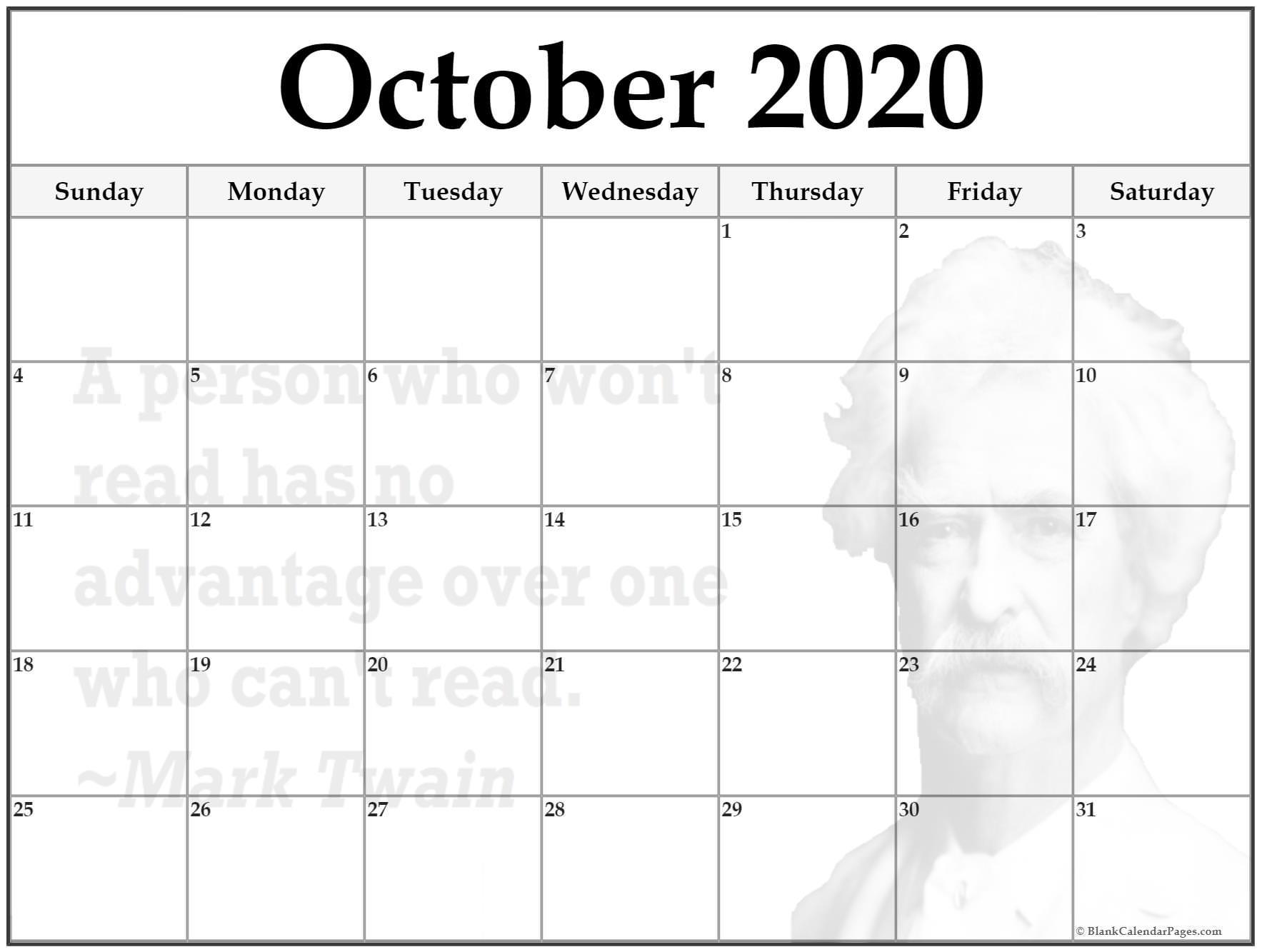 24+ October 2020 Quote Calendars