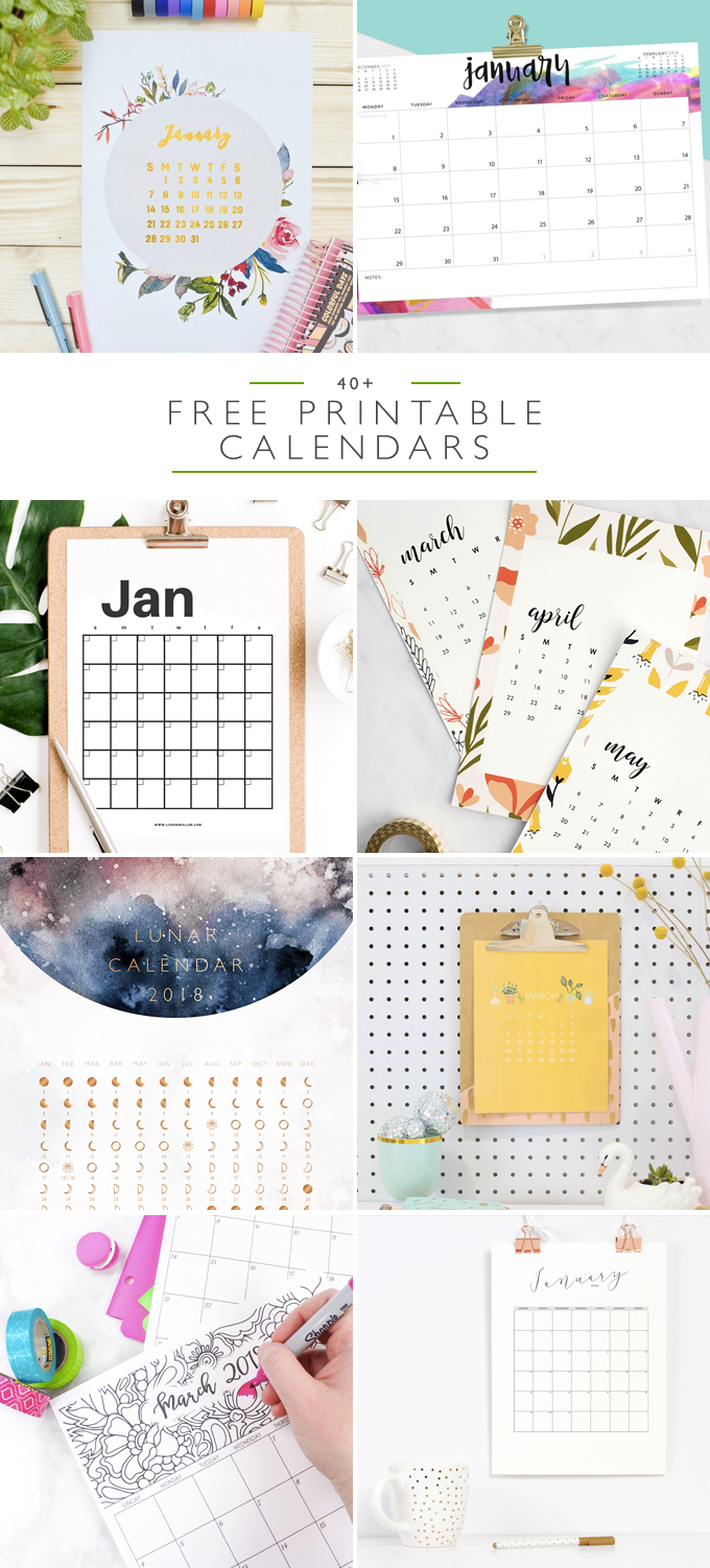 40+ Free Printable 2018 Calendars - Squirrelly Minds