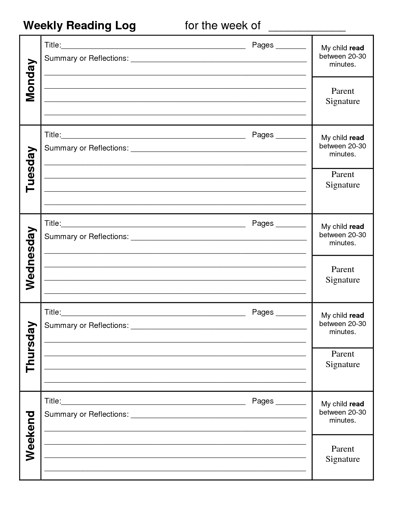 4Th Grade Reading Log Printable | Example Calendar Printable