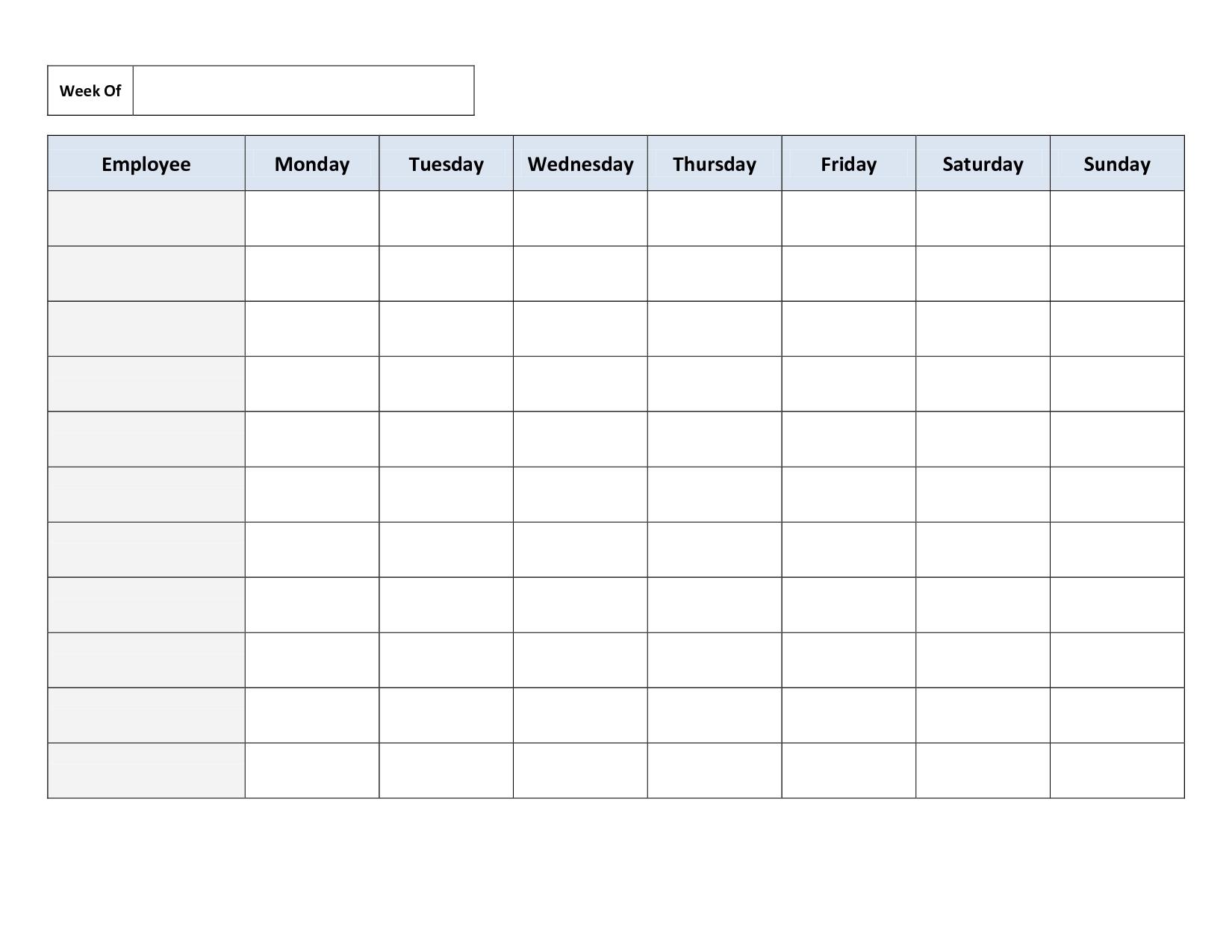6 Week Blank Schedule Template | Free Calendar Template