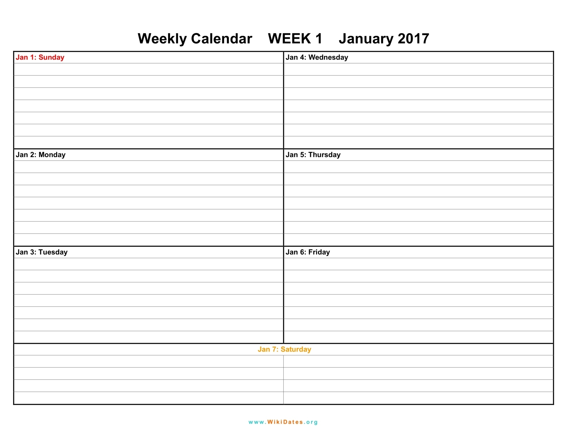 7 Day Weekly Planner Template Printable | Calendar