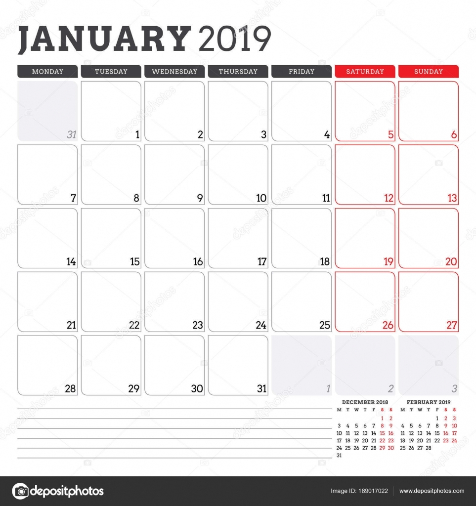 9 Printable January 2019 Templates | 2020 Calendar