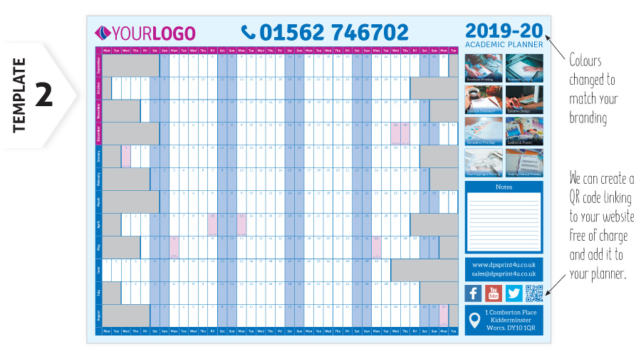 Academic Year Planner | Wall Chart Calender Printing 2019 2020
