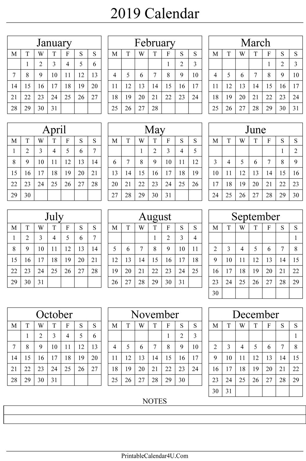 Annual Calendar 2019 Portrait Printable Calendar 2017 2018