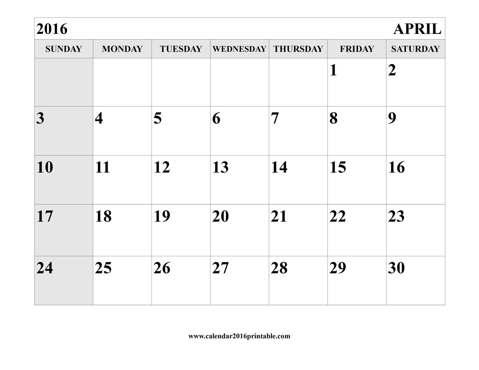 April 2016 Calendar Printable Template | Calendar Template