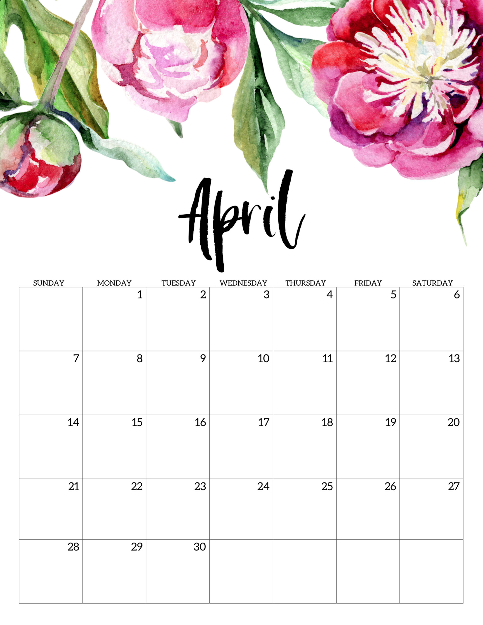 April 2019 Calendar Cute