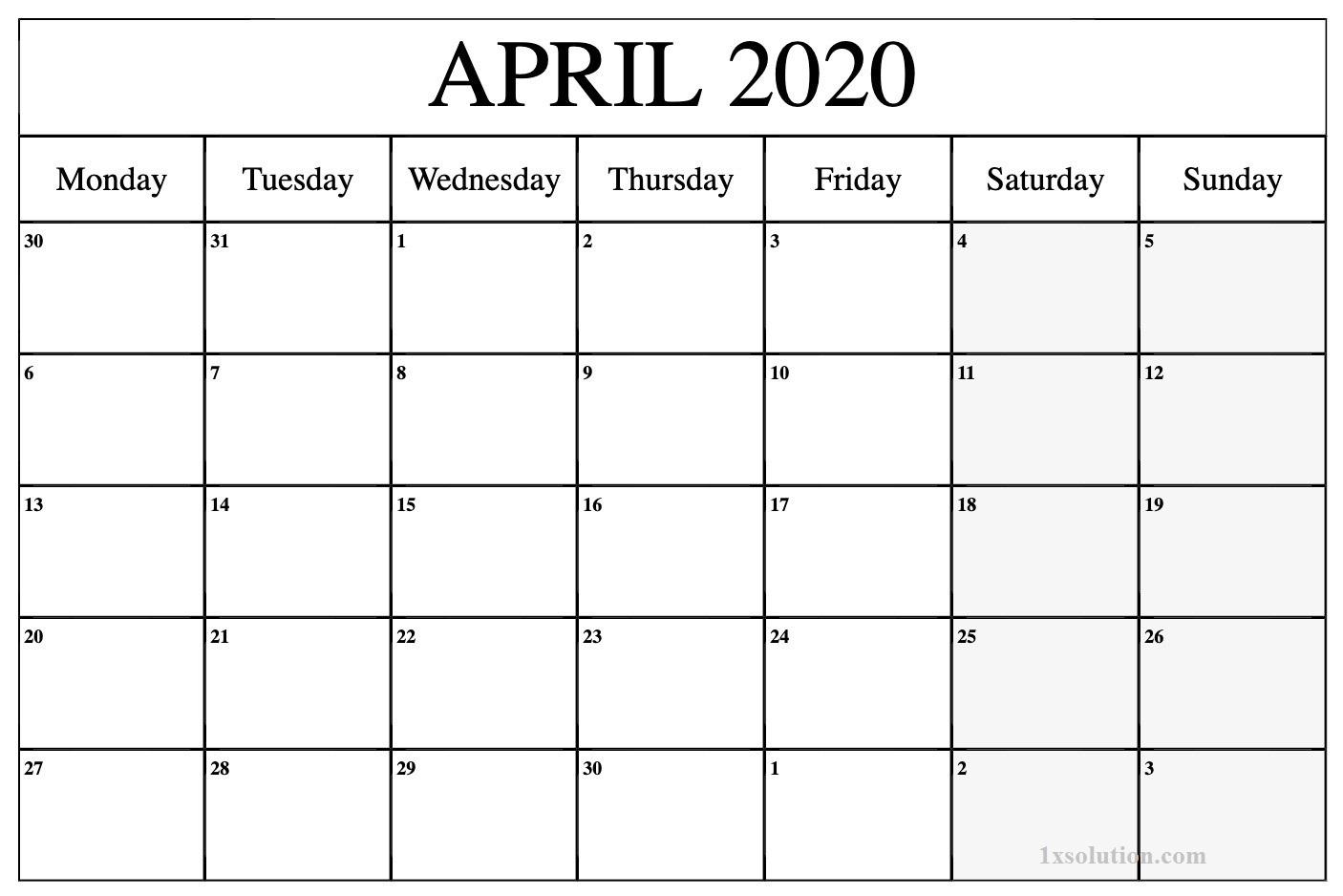 April 2020 Calendar Excel Sheet For Business Grow   Calendar