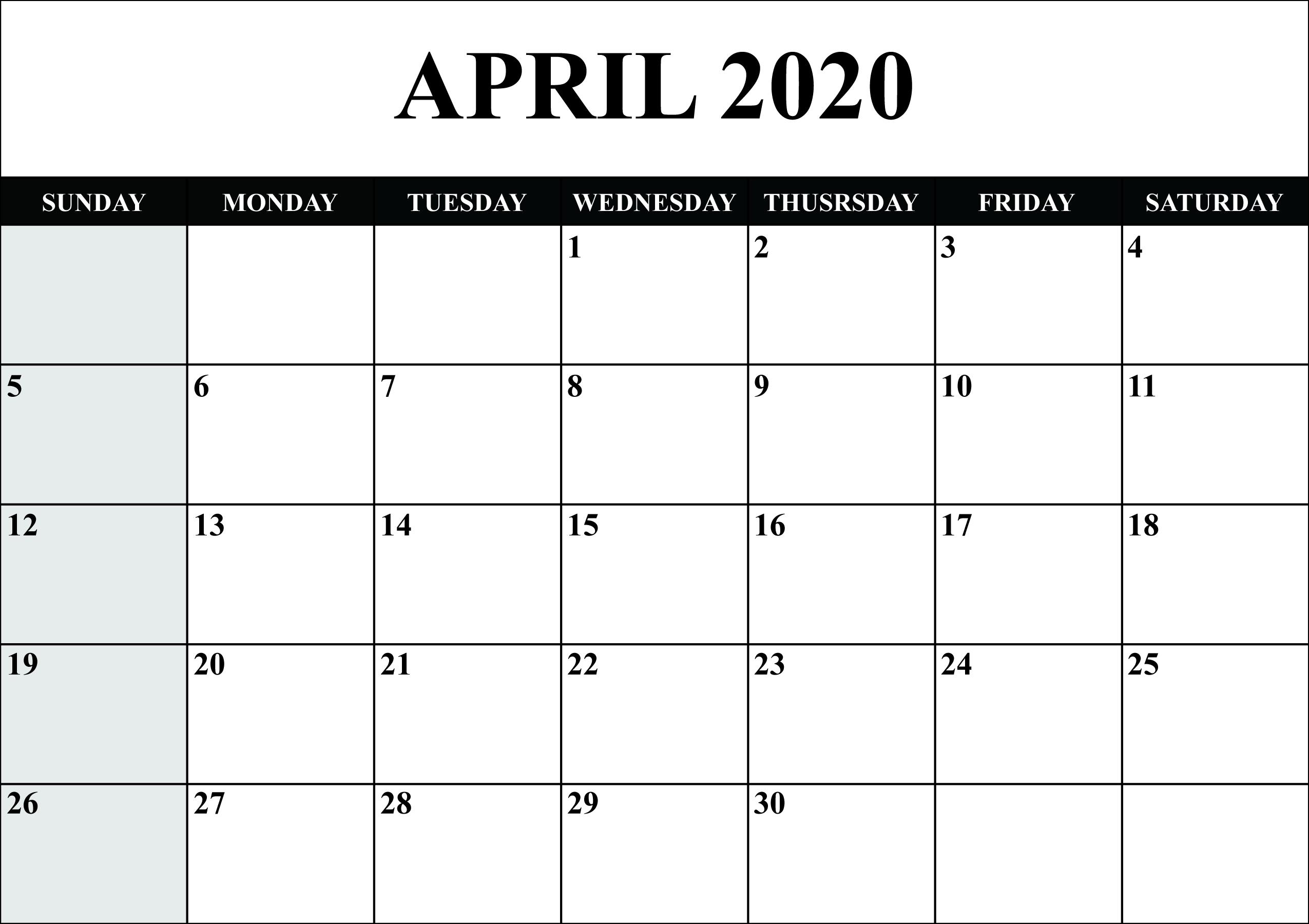 April 2020 Calendar With Holidays | Free Printable
