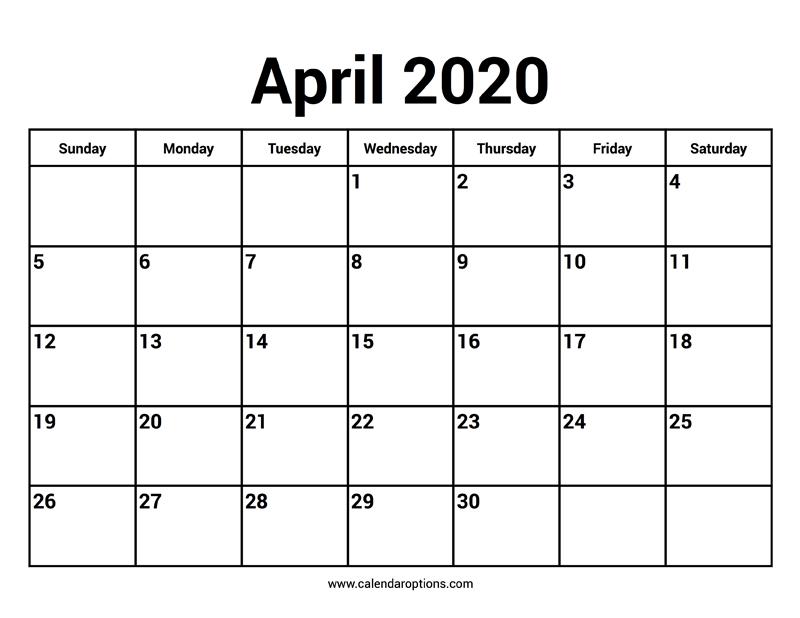 April 2020 Calendars – Calendar Options