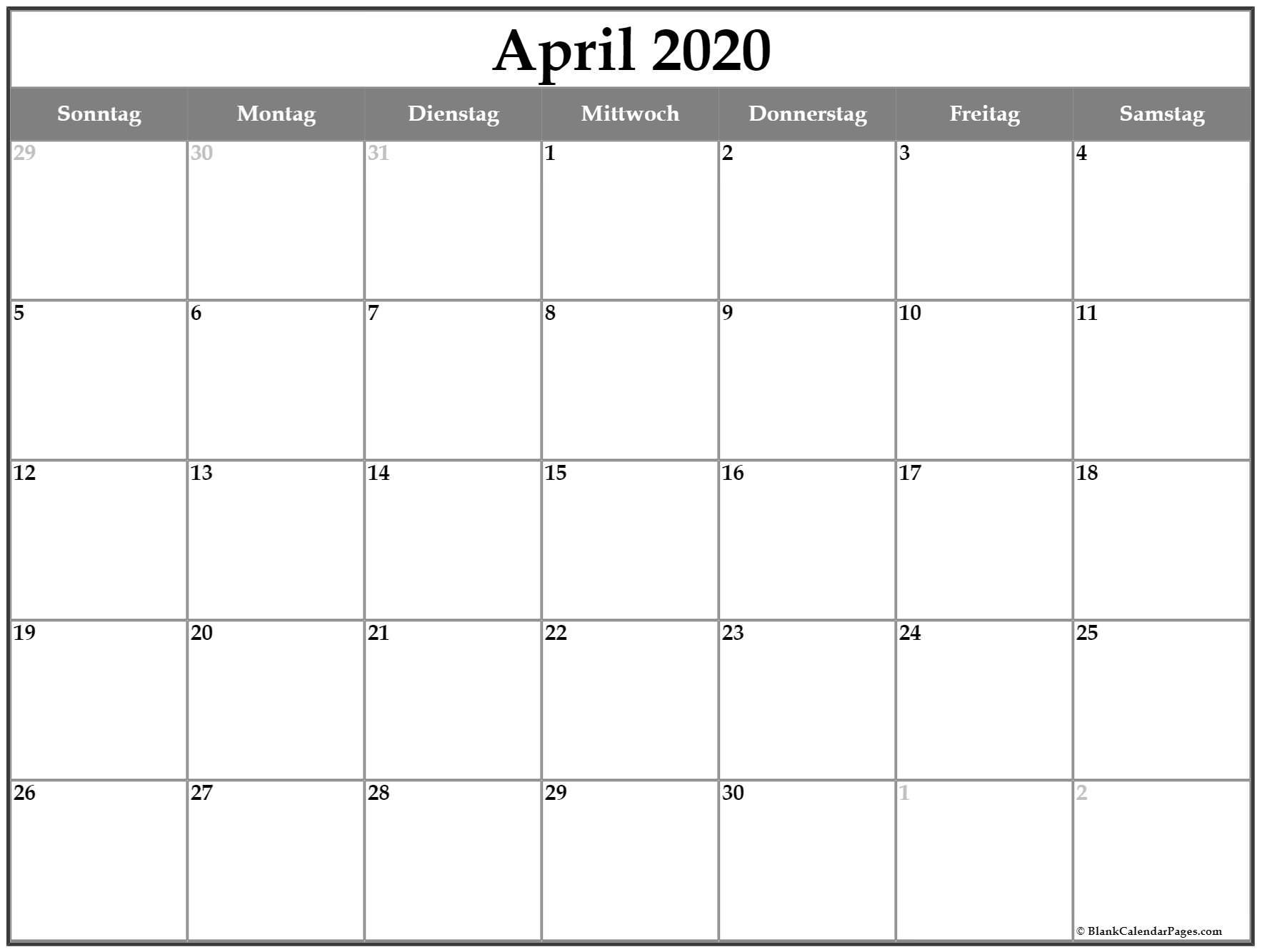 April 2020 Kalender | Kalender 2020