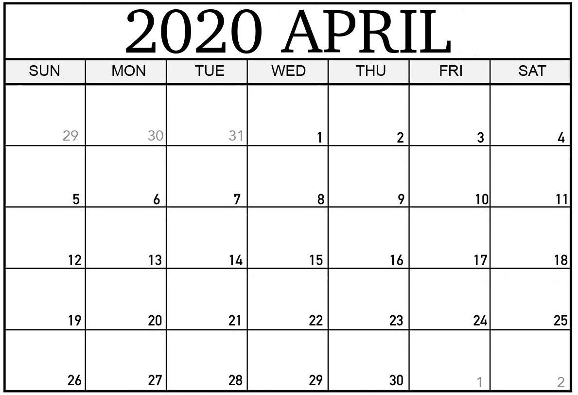 April 2020 Printable Calendar Pdf Monthly Worksheets - One