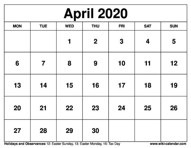 April 2020 Printable Monday Calendar #April2020 #