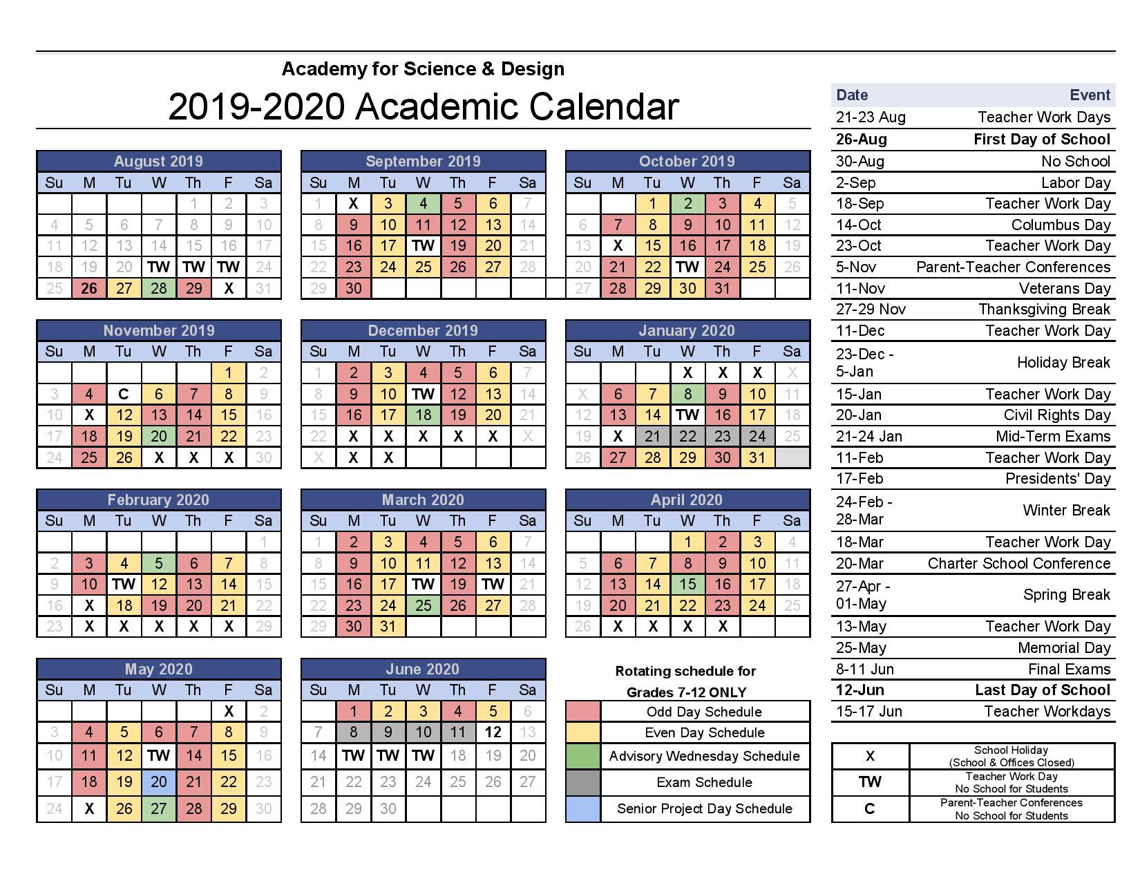 Asd School Calendar | Calendar Fall 2020