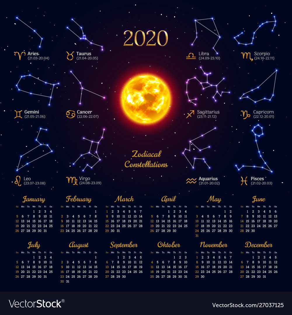 Astrology Calendar For 2020 Year Royalty Free Vector Image