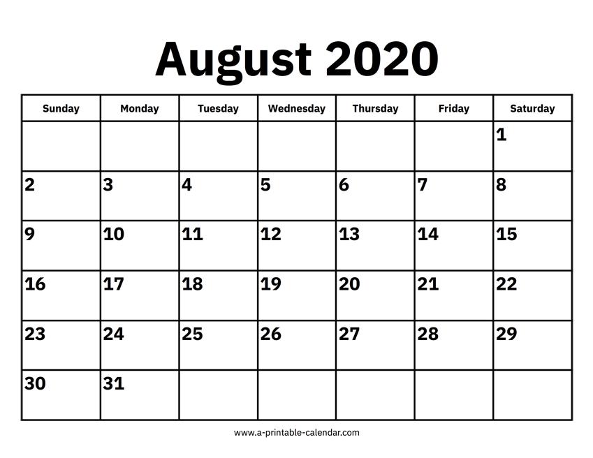 August 2020 Calendar - Free Download - Aashe