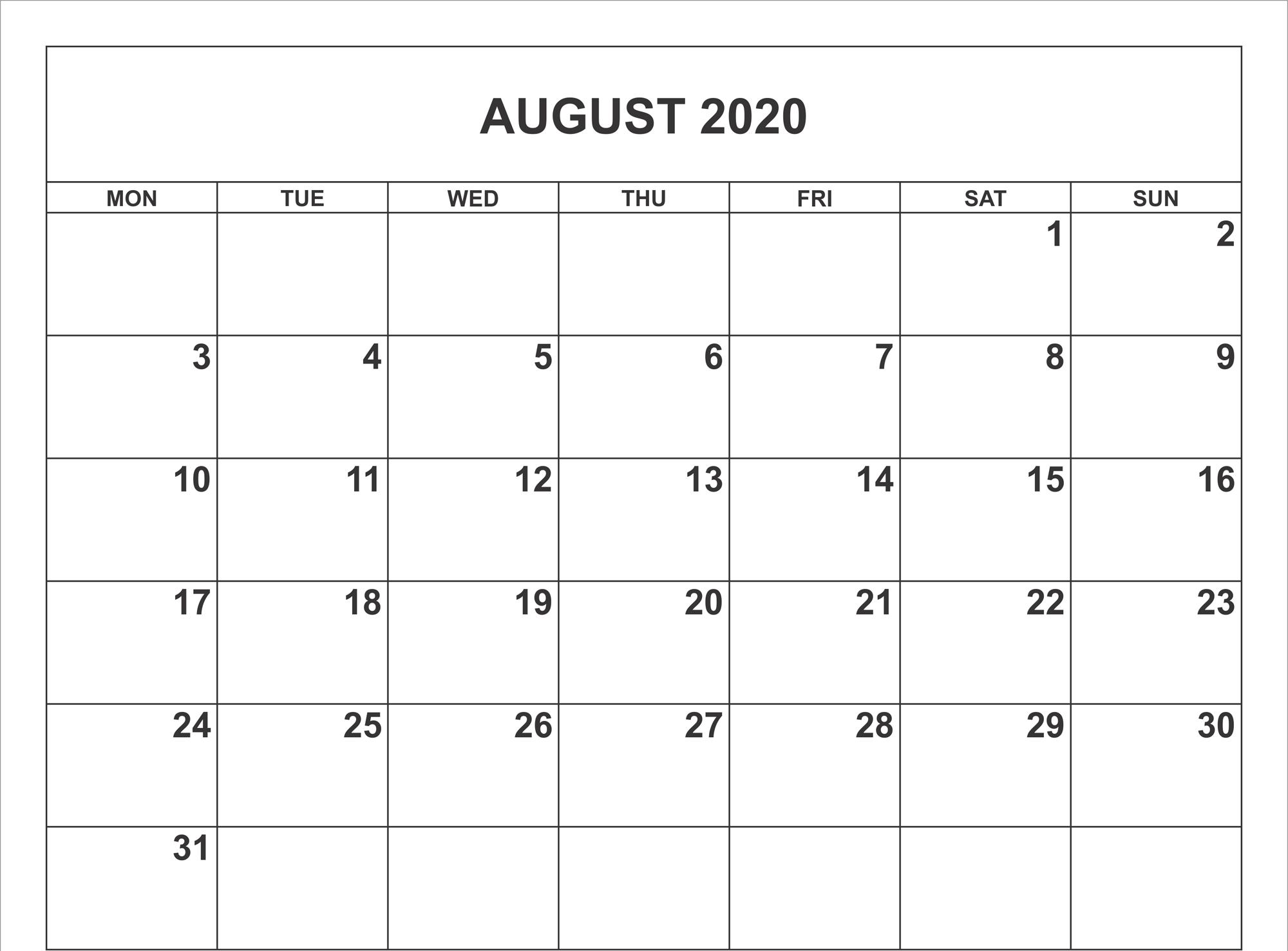 August 2020 Calendar Printable   Calendar For Planning