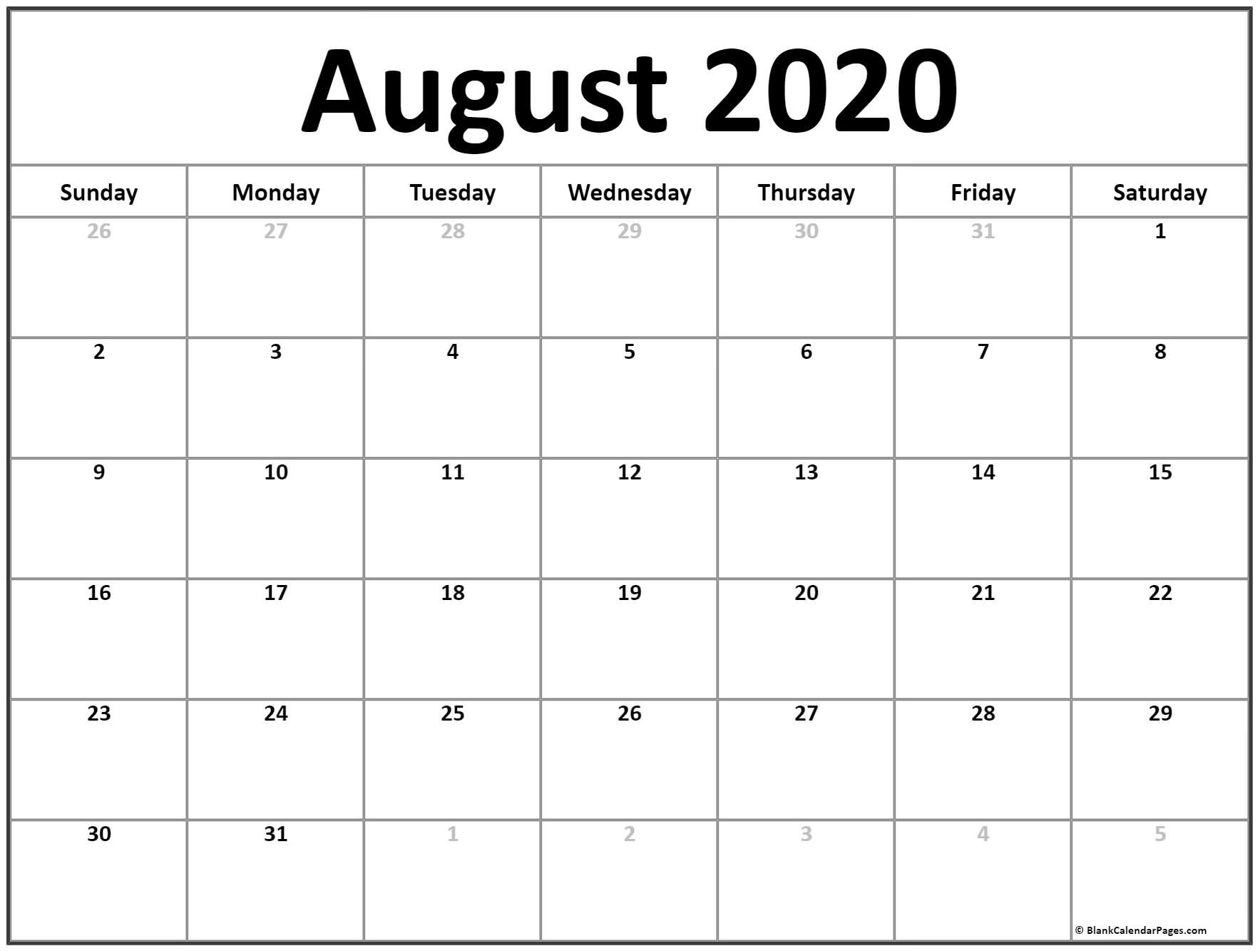 August 2020 Colorful Calendar Template | Example Calendar