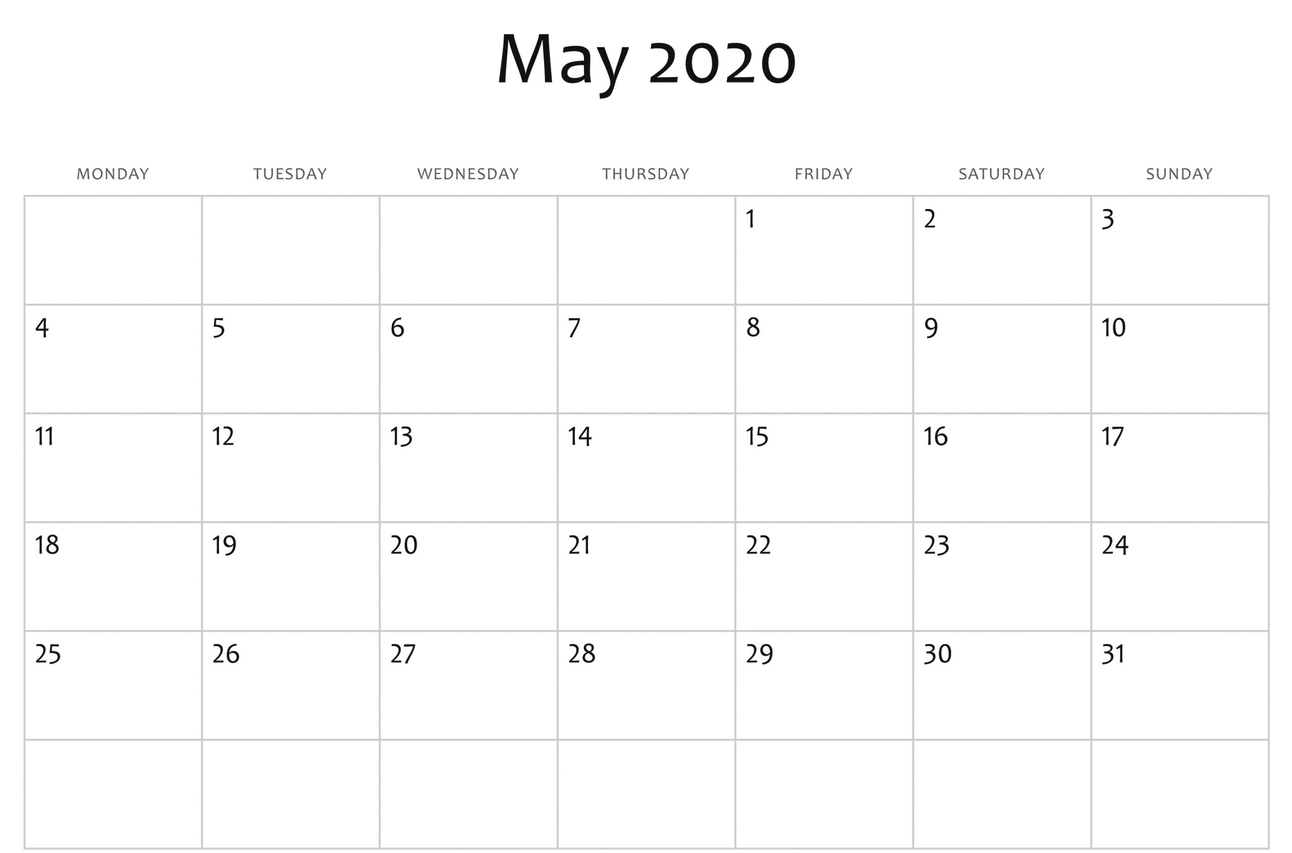 Awesome May 2020 Calendar Pdf, Word, Excel Template