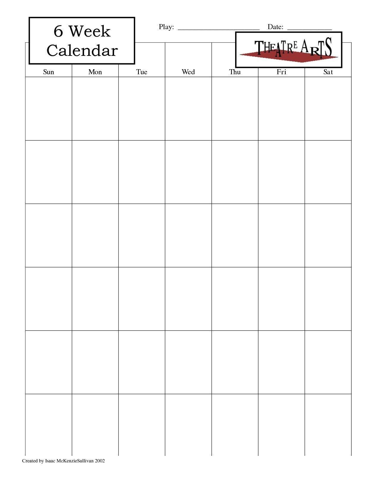 Blank 6 Week Calendar | Thekpark-Hadong Dowload