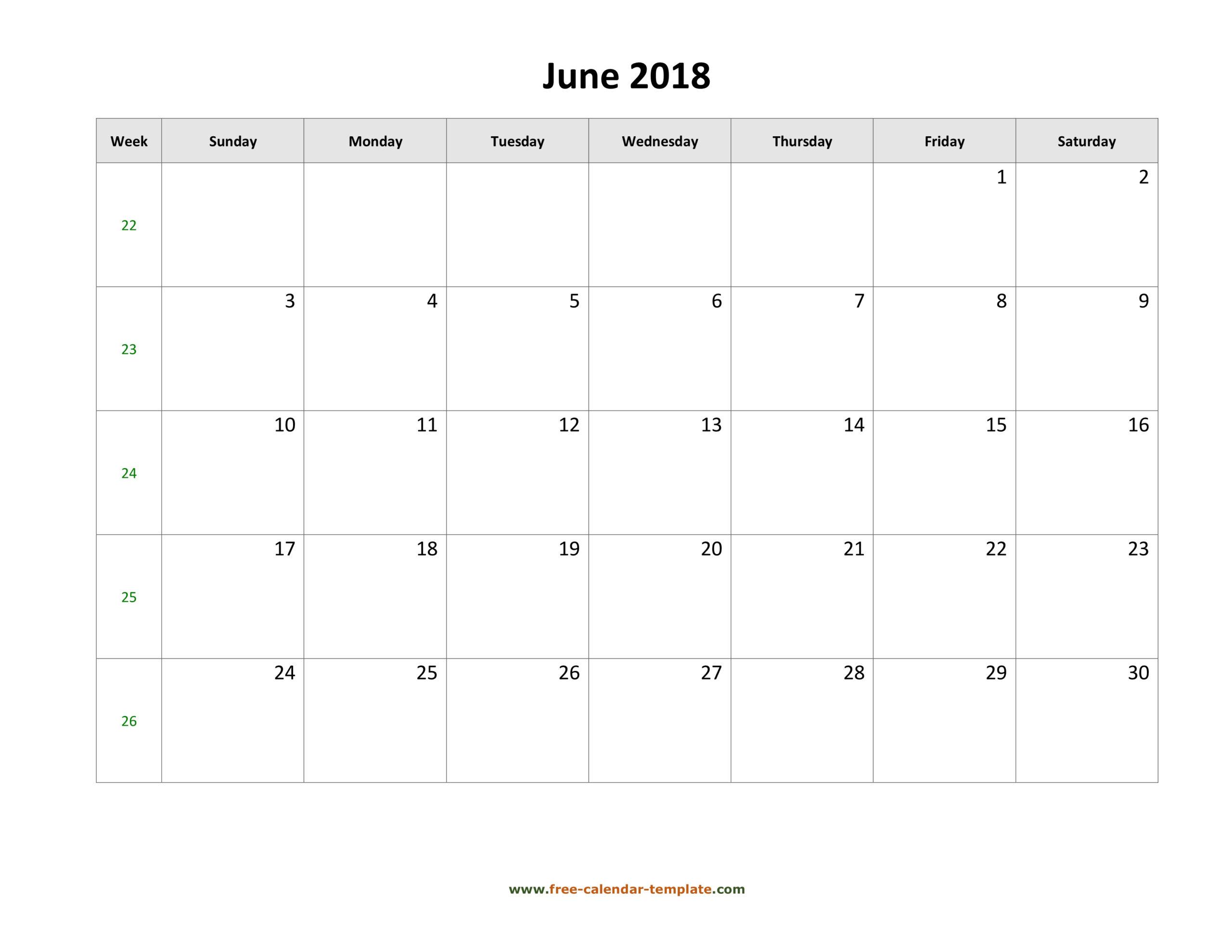 Blank Calandar With Big Squares   Example Calendar Printable
