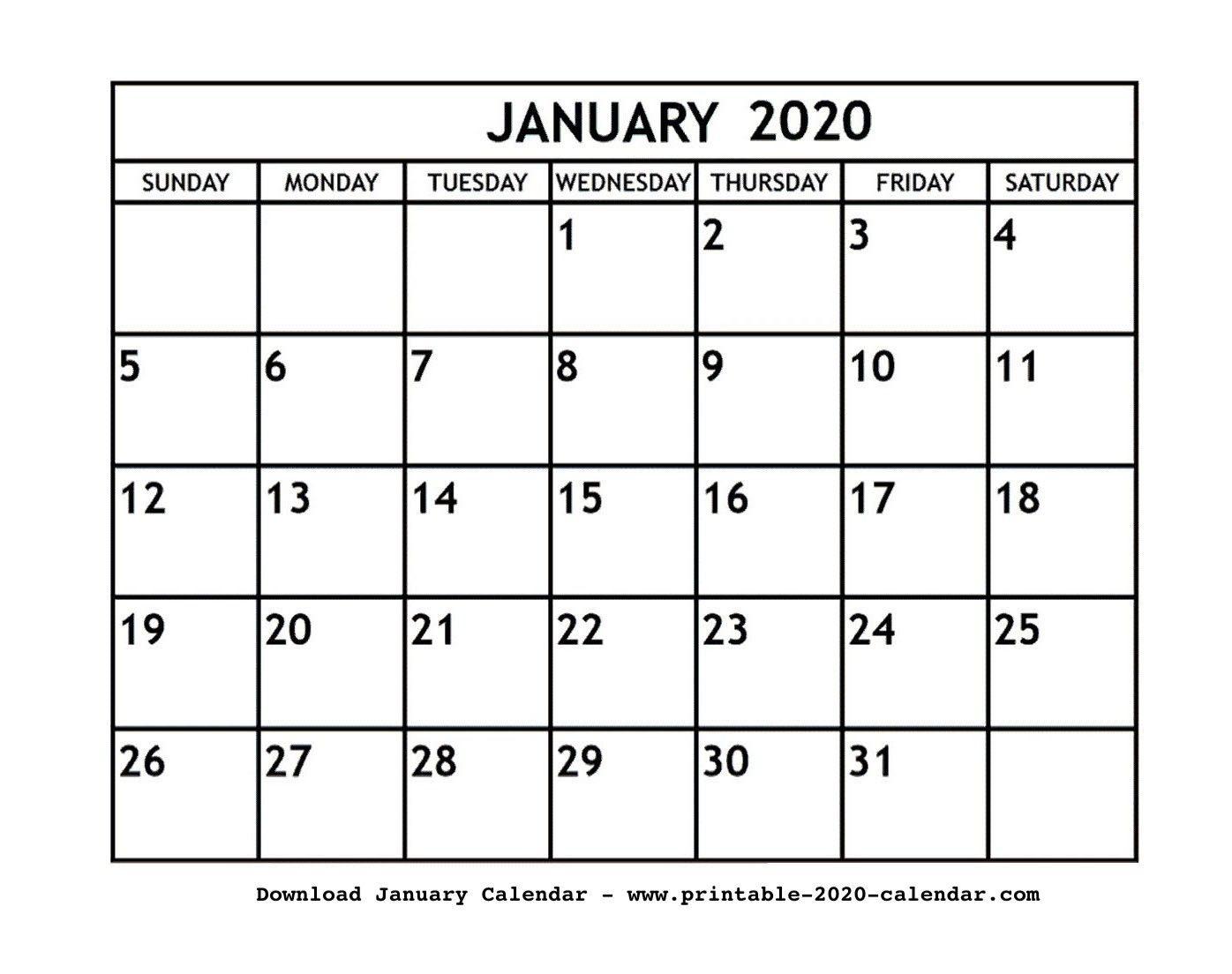 Blank Calendar Jan 2020 Printable   Maandkalenders