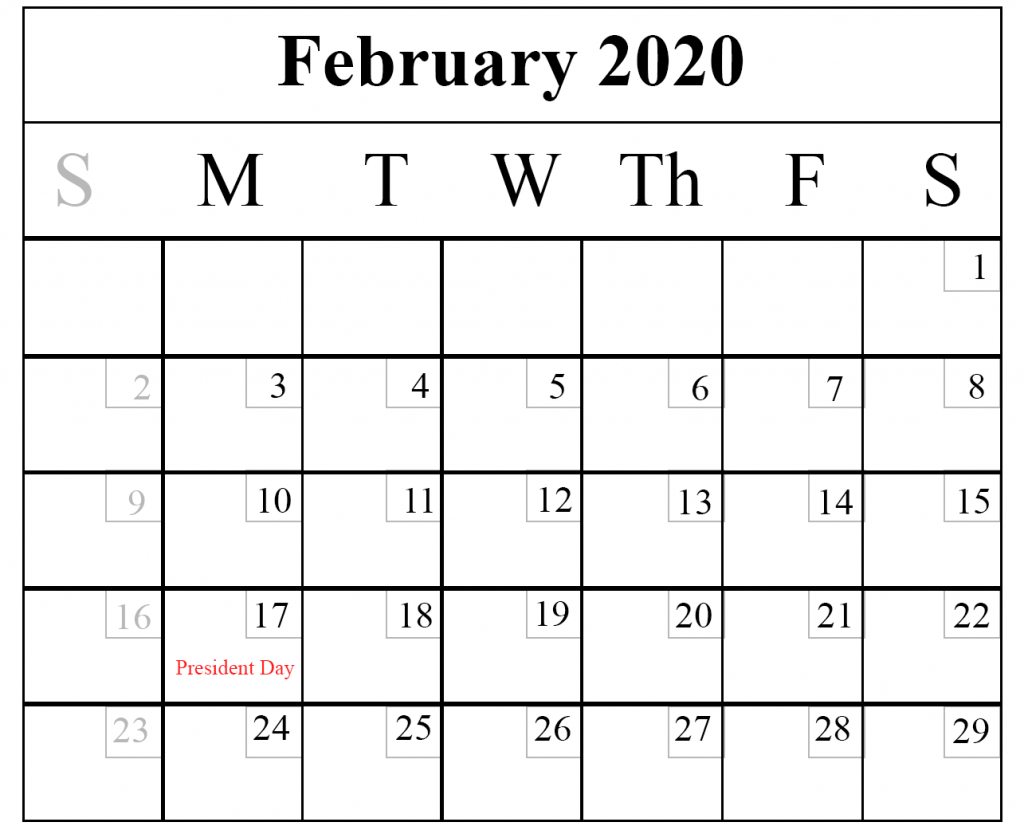 Blank February 2020 Calendar Printable Template – Pdf Word