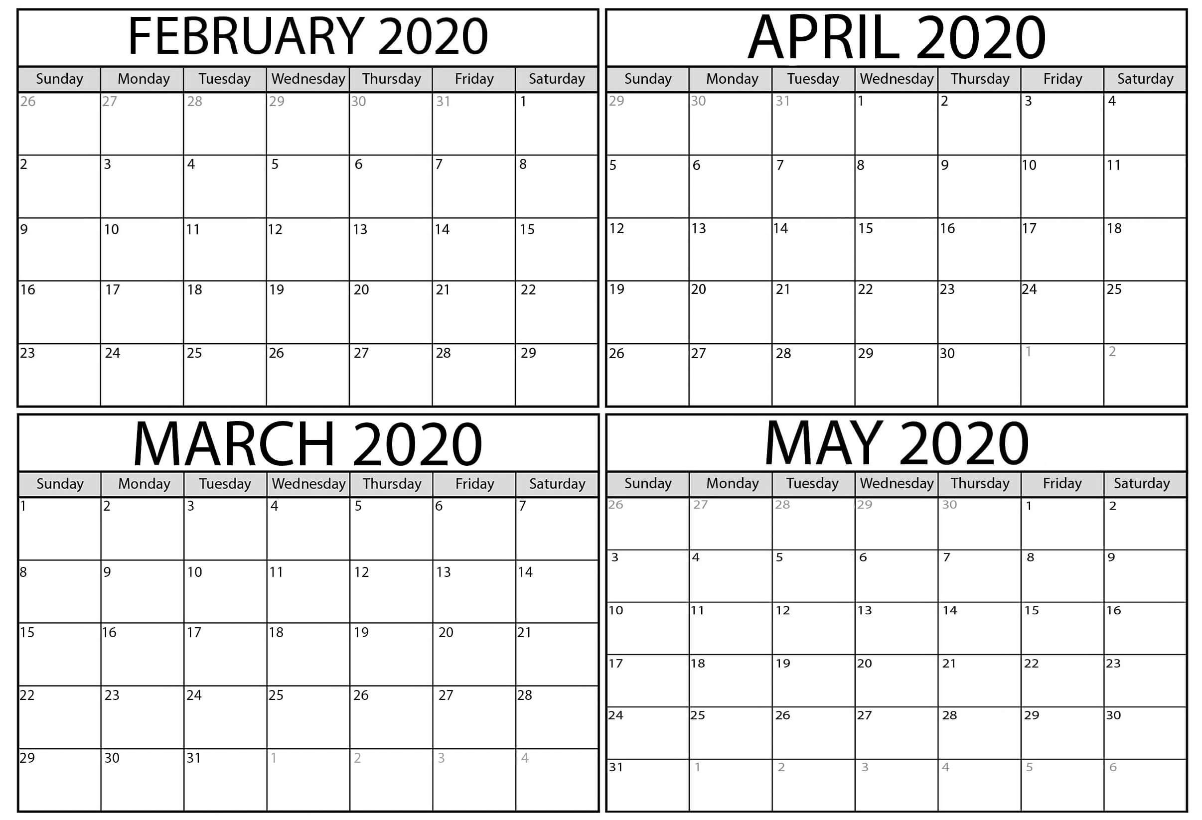 Blank February March Calendar 2020 Pdf - 2019 Calendars