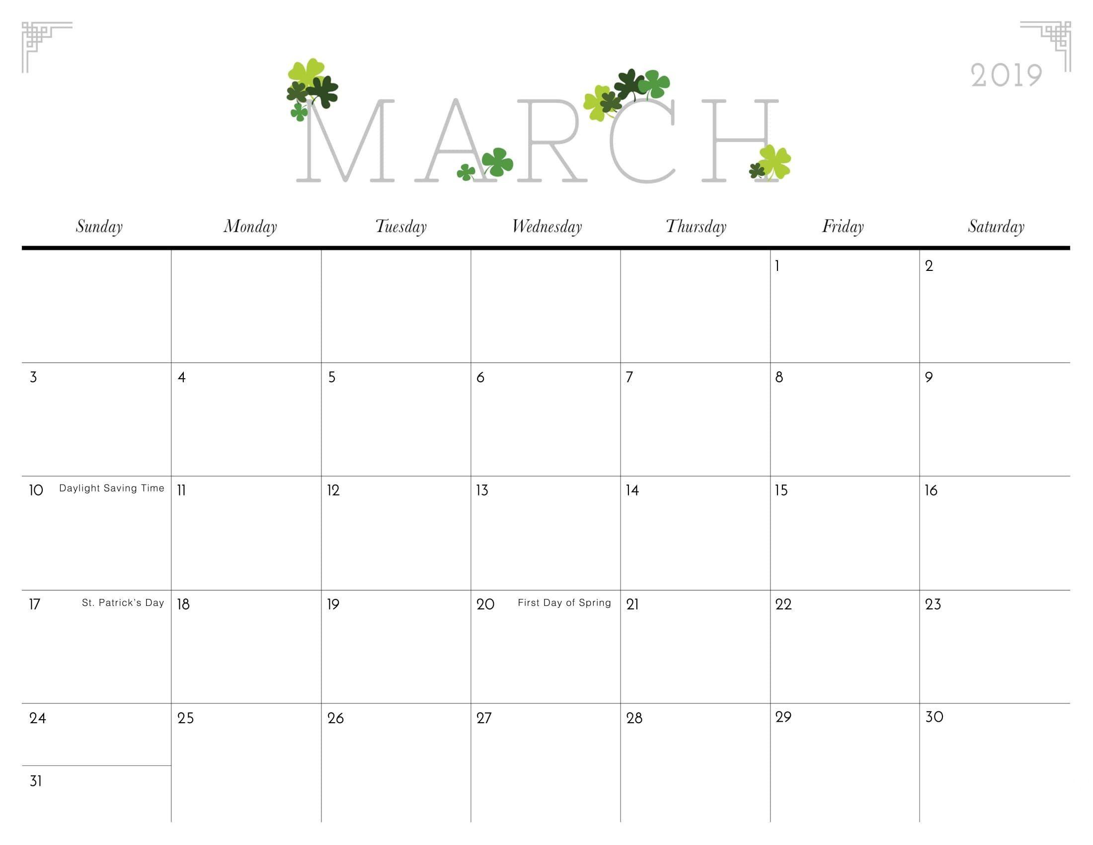 Blank March 2020 Calendar Template Printable Word | 2017