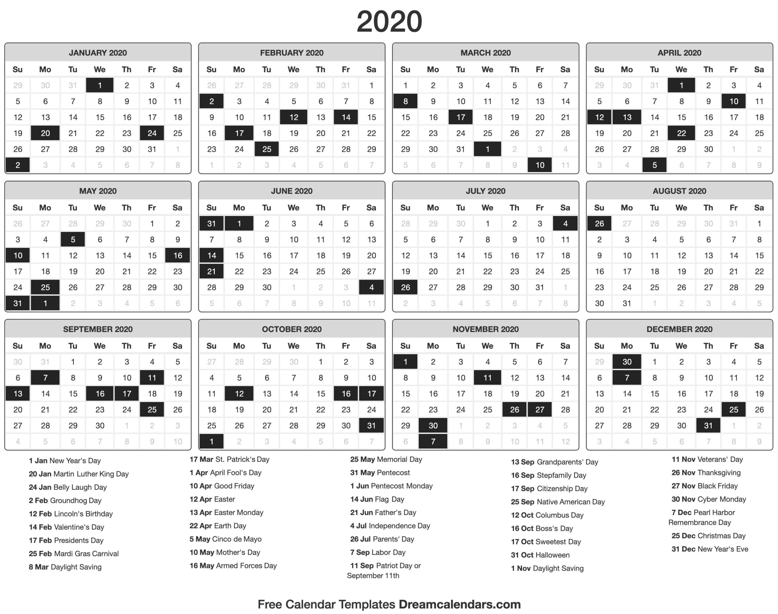 Blank Printable 2020 (Yearly) Calendar On We Heart It