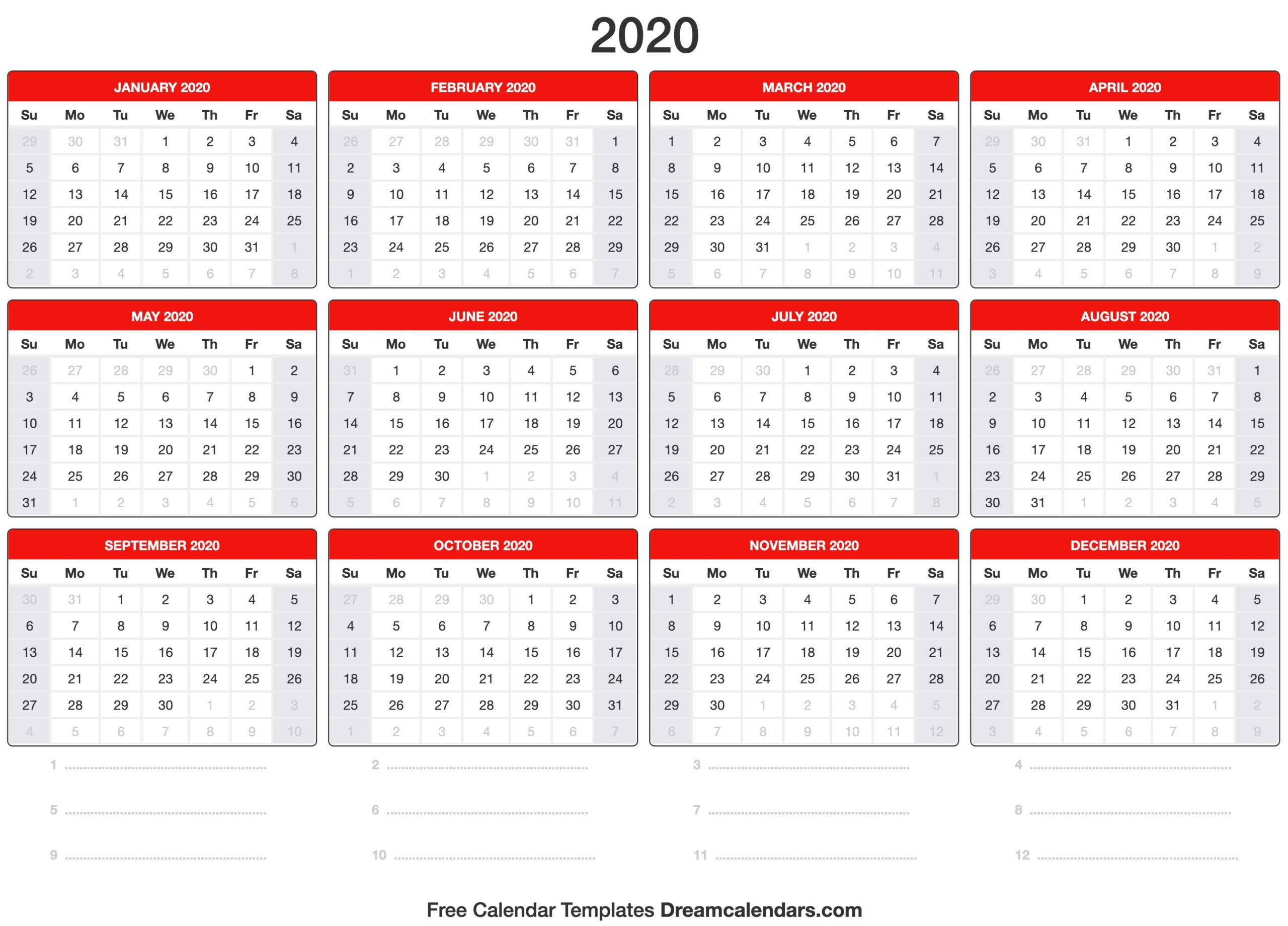 Blank Printable 2020 (Yearly) Calendar On We Heart It