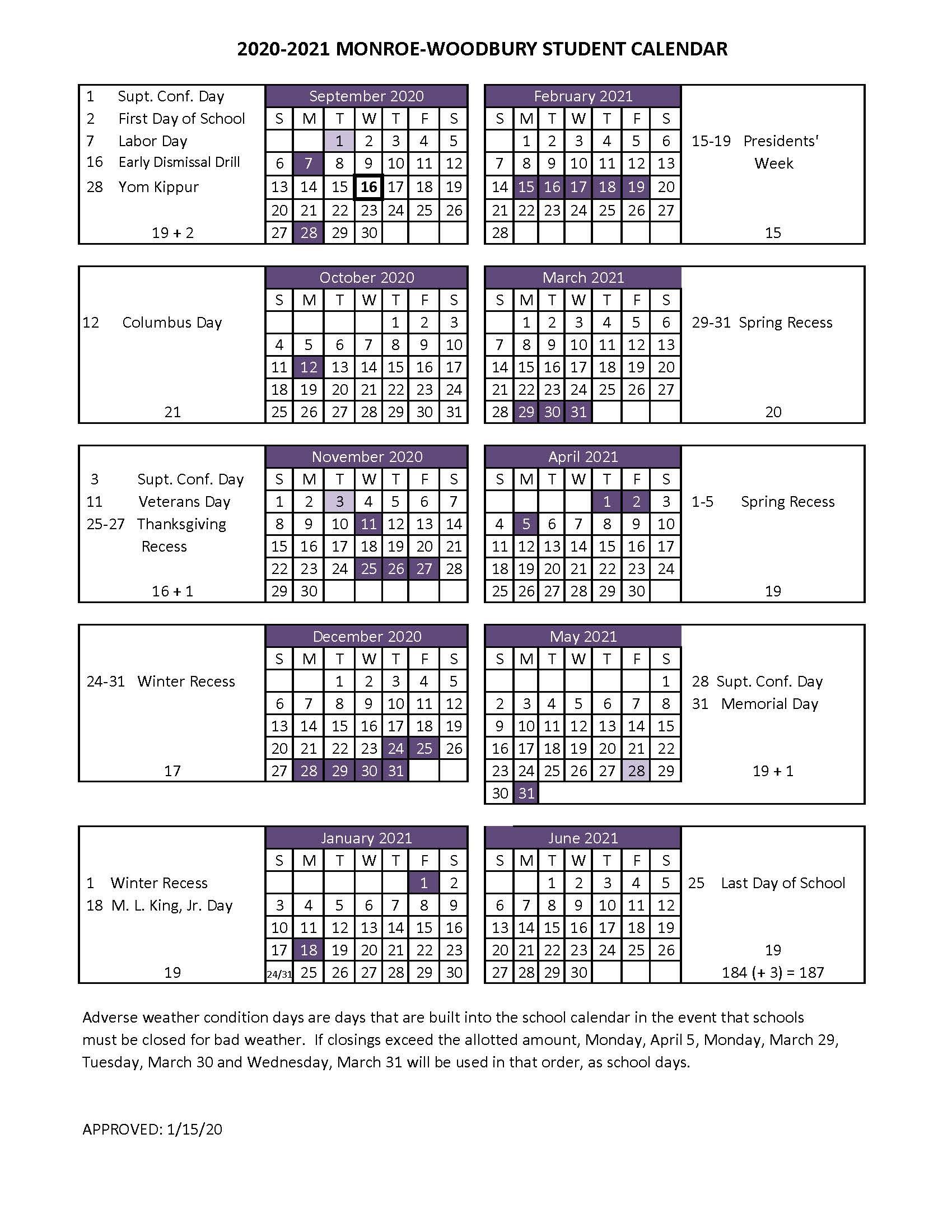 Boe Adopts 2020-2021 Student Calendar - Monroe-Woodbury