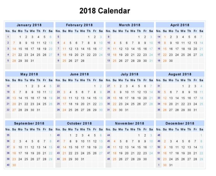 Calendar 2018 Printable One Page | Latest Calendar