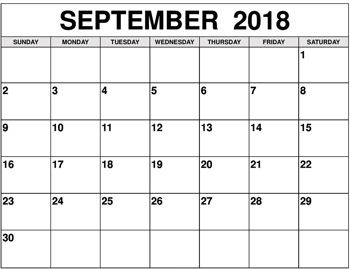 Calendar 2018 September With Government Holidays | 2018