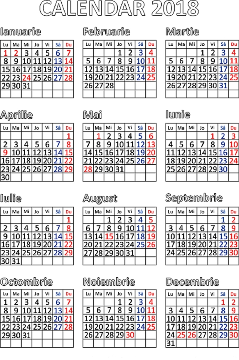 Calendar 2019 Zile Libere :-Free Calendar Template