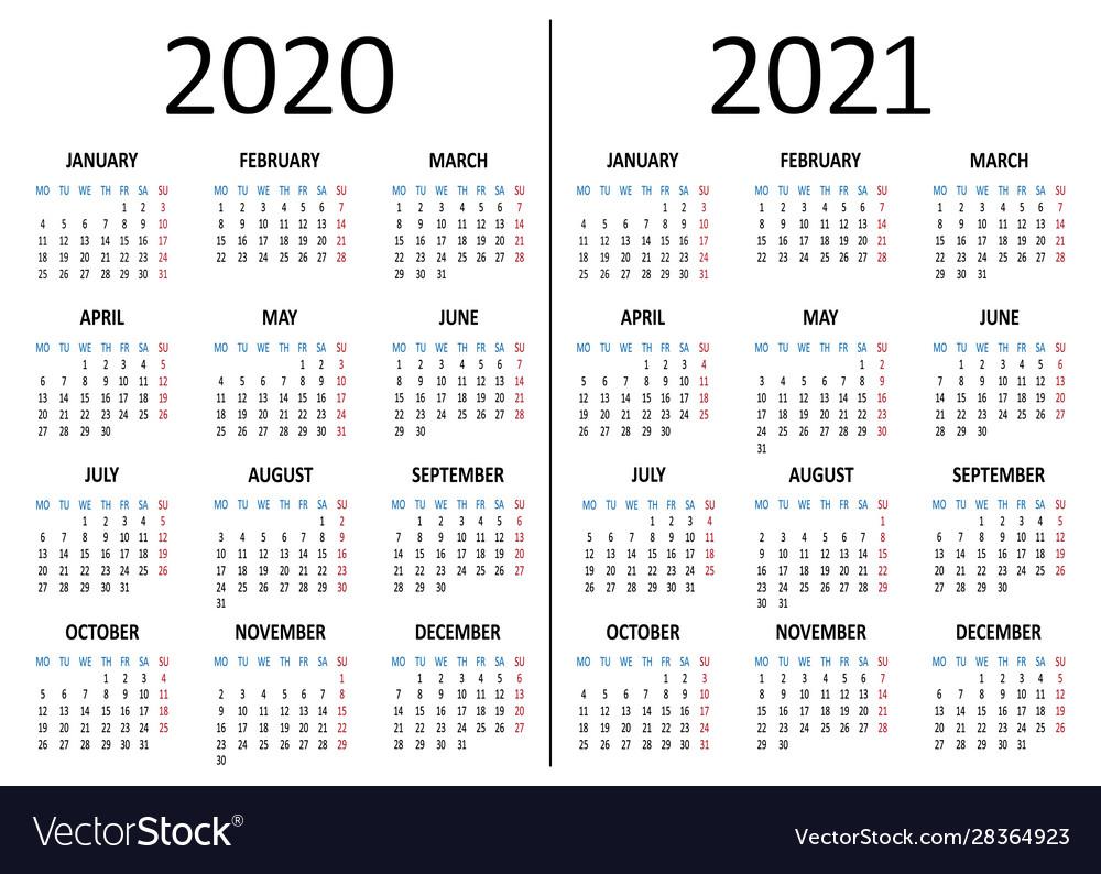 Calendar 2020 2021 Week Starts From Monday Vector Image