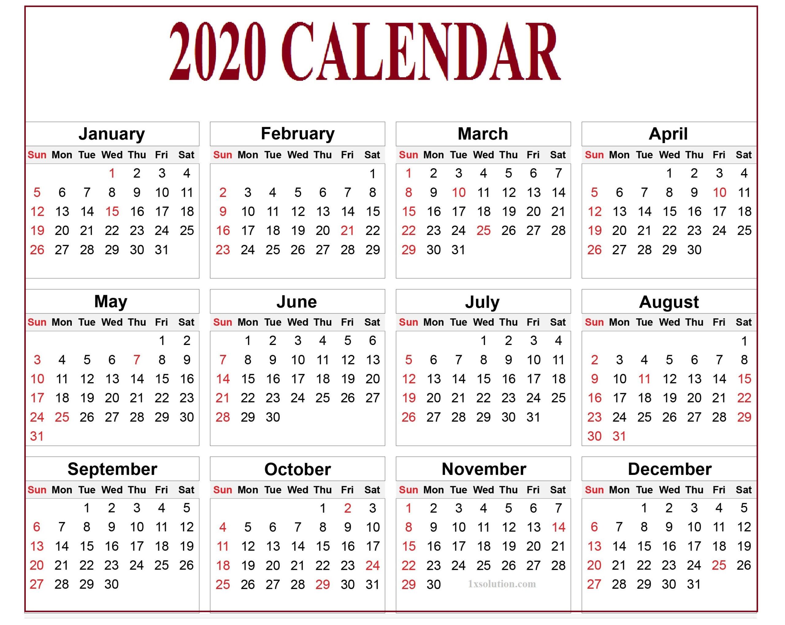 Calendar 2020 Pdf For Mark Your Daily Class | | Calendar