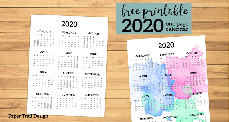 Calendar 2020 Printable One Page | Paper Trail Design
