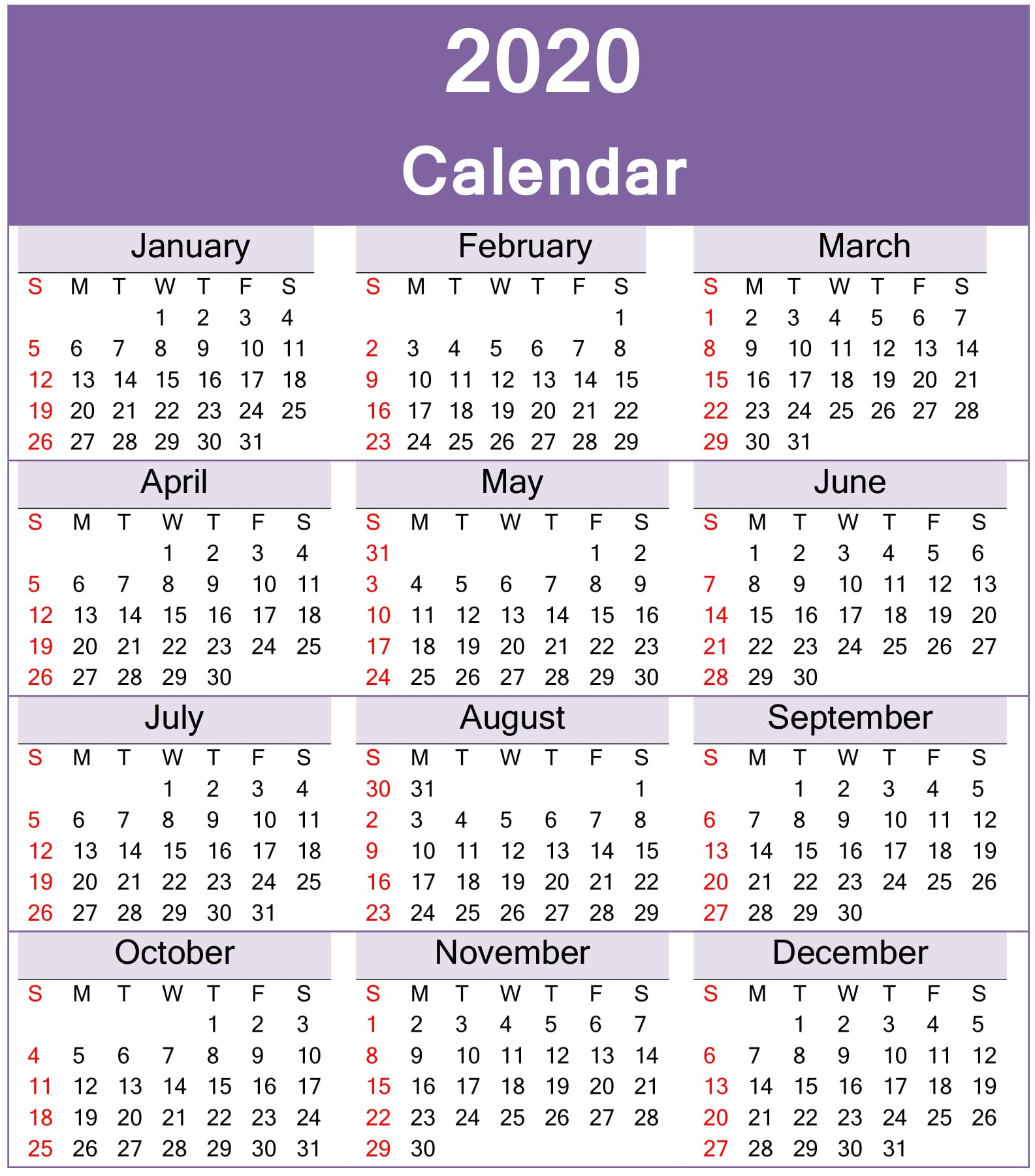Calendar 2020 Yearly Printable Images 363