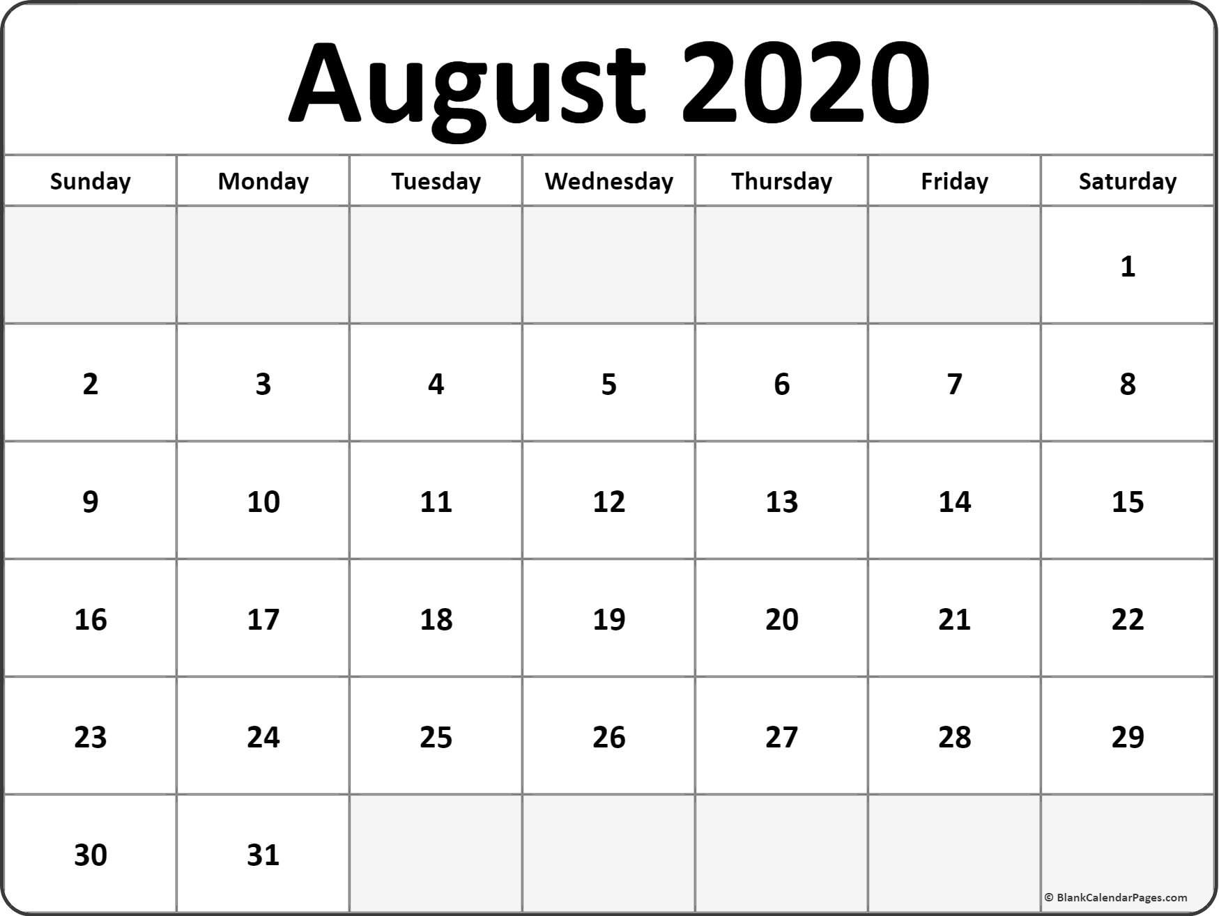 Calendar August 2020 Printable   Free Printable Calendar