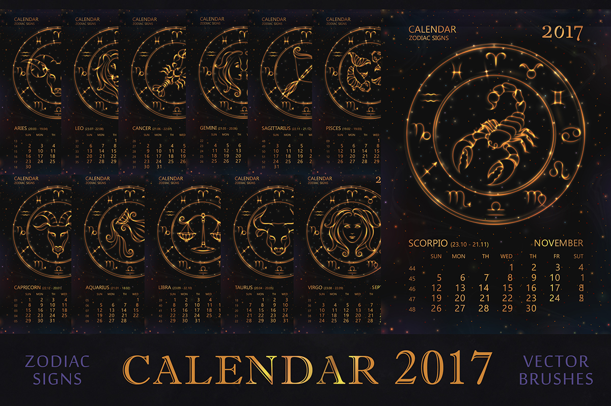 Calendar For 2017 Year With Zodiac Signs. On Behance