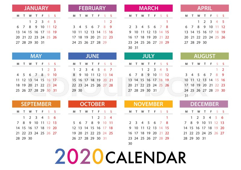 Calendar For 2020 On Grey Background  | Stock Vector