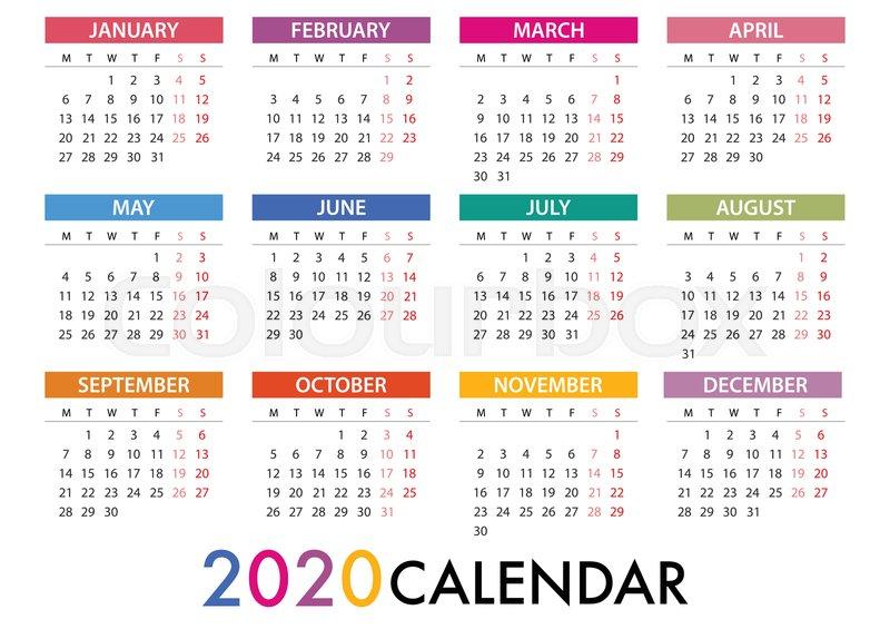Calendar For 2020 On Grey Background  | Stock Vector
